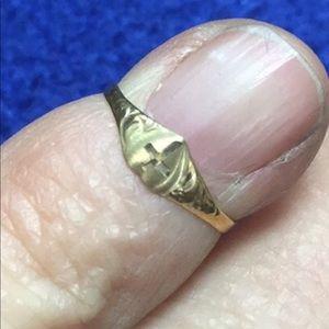 10k heart cross baby ring